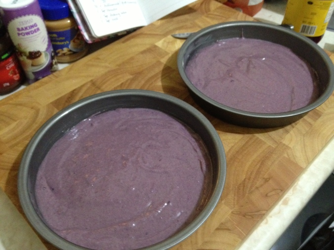 purple yam cake batter