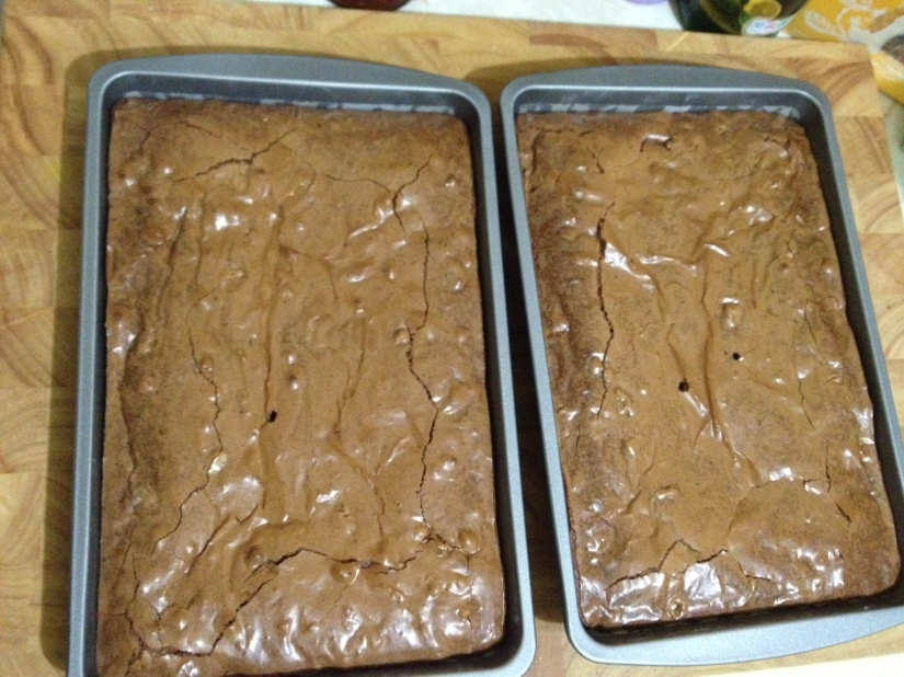 Coffee and walnut brownies cooling