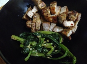 Salt and chilli pork with greens