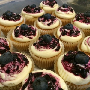 Blueberry cheesecake cupcakes ready to go