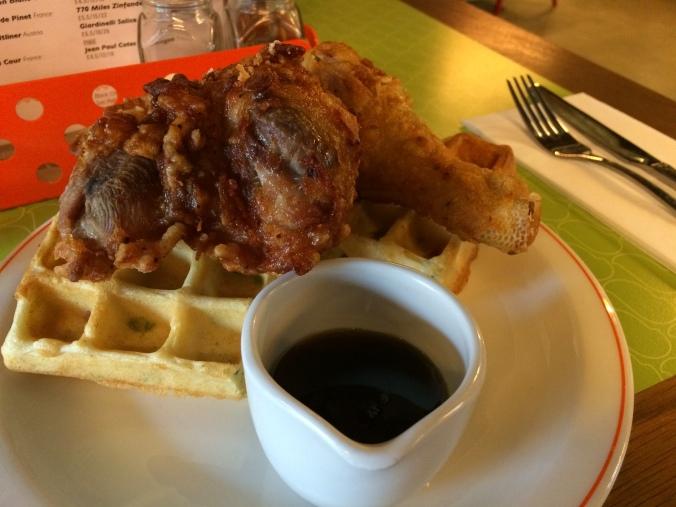 Bird chicken and waffles