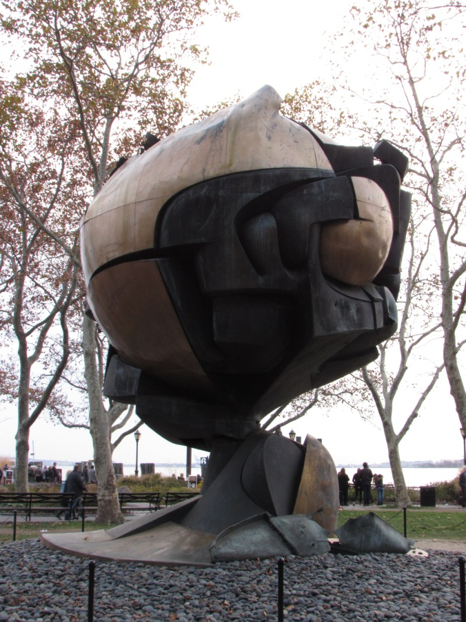 The enduring Sphere sculpture by Fritz Koenig was once the center of the the Austin J. Tobin Plaza.