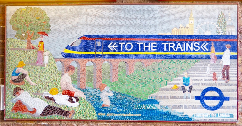 Waterloo mosaics to the trains